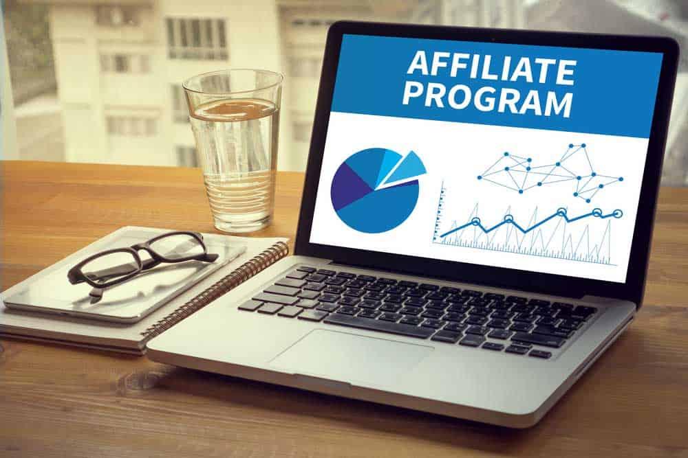Laptop showing affiliate program screen