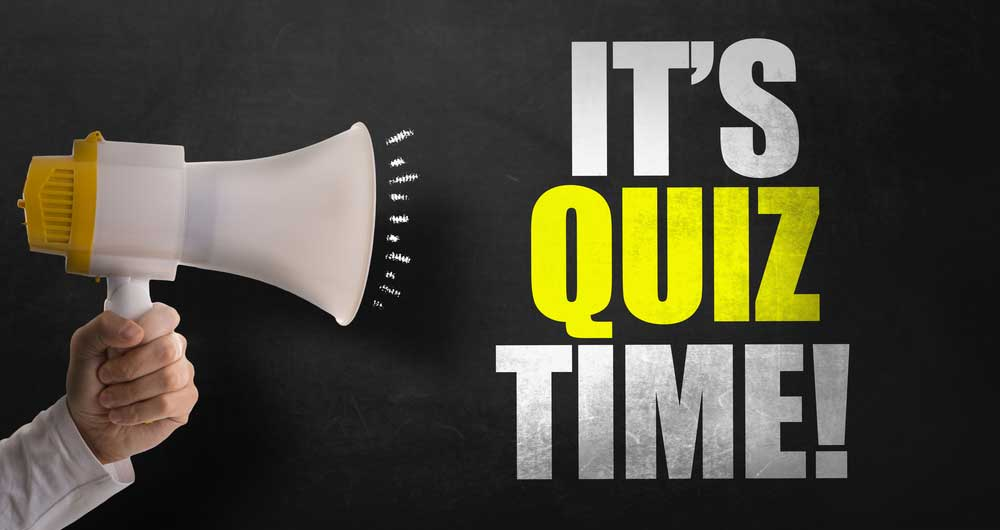 """The words """"It's Quiz Time"""" on a black background next to a megaphone"""